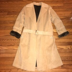 Jackets & Blazers - Size XXL Tan Suede Brown Fur Trench Coat